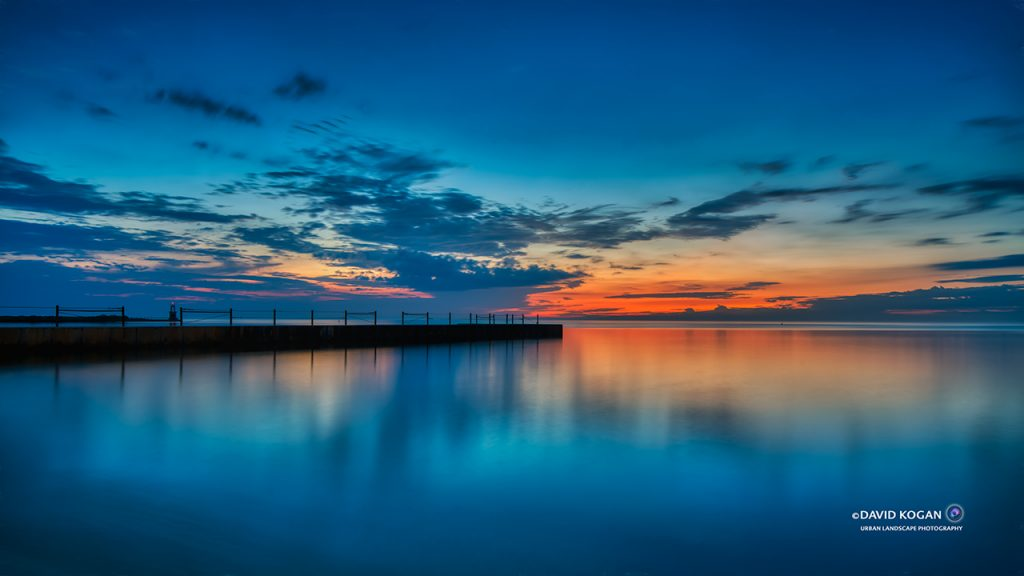 Blue Red Sunrise at Hartigan North Shore Chicago