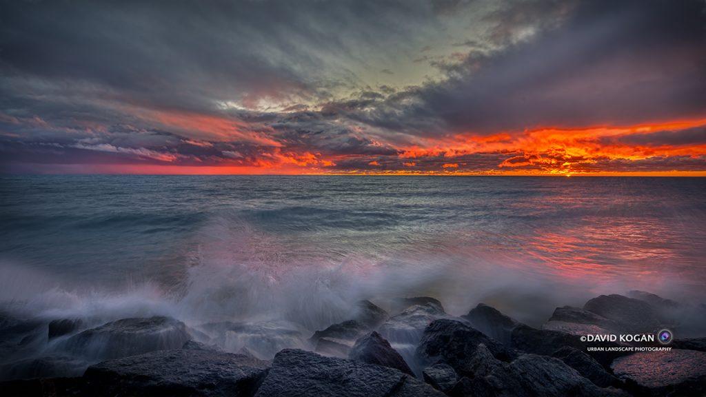 Red Skies and Waves at Lake Michigan