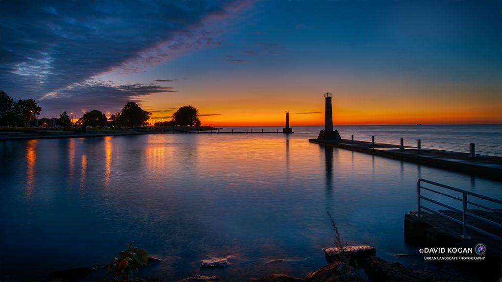 Sunrise at Montrose Harbor Mouth