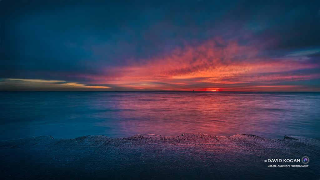 Deep Magenta Sunrise at Foster and Lake Michigan