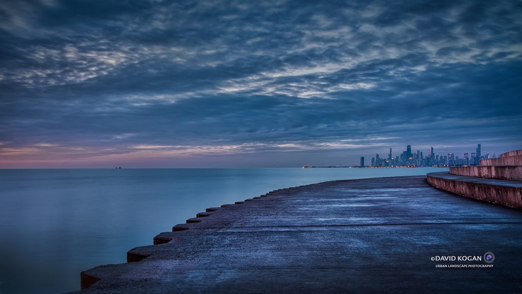 Chicago Skyline from Montrose and Lake Michigan