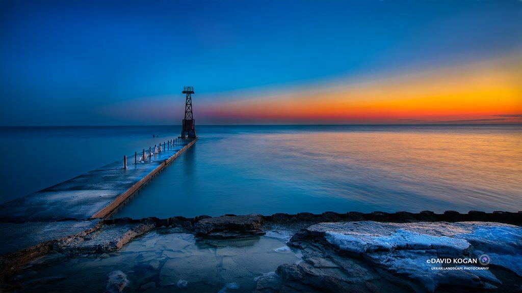 Sunrise at Foster Lake Michigan Chicago