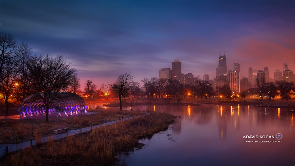 Chicago Skyline at Lincoln Park Lagoon