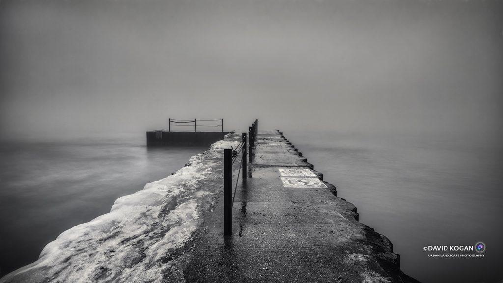 Foggy Pier at Hartigan Beach Chicago